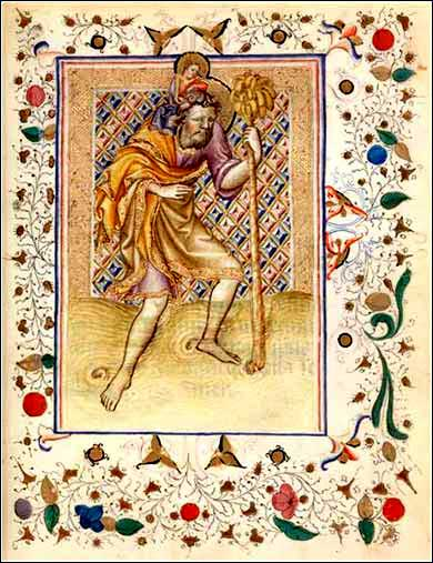 St. Christopher</i>, unknown prayer book @ 1650 A.D