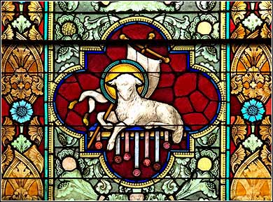 <i>Agnus Dei</i> (Lamb of God), stained glass panel from St. Peter