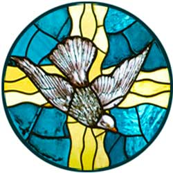 Devotional stained glass dove, spirit