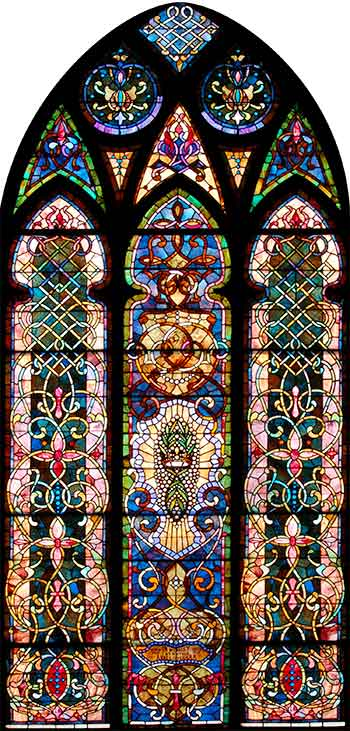 Stained glass arched window.