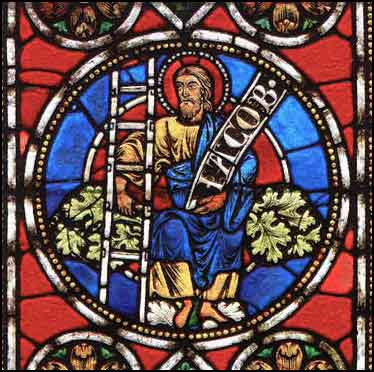 Ancient German stained glass fragment of Jacob