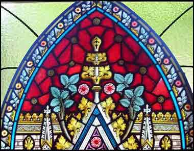 Devotional top of stained glass church window