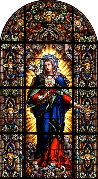 Stained glass, virgin Mary, Catholic