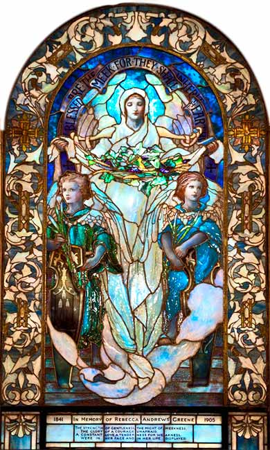 <i>Blessed Are the Meek</i>, Tiffany Studios for Arlington St. Church, Boston, ca. 1919.