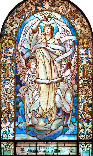 <i>Blessed Are the Peacemakers</i>, stained glass in Arlington Street Church, Boston, by Tiffany Studios, ca. 1902.