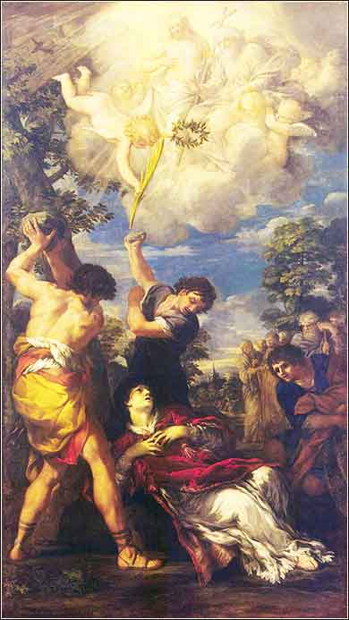 Devotional painting The Stoning of St. Stephen by Pietro da Cortona