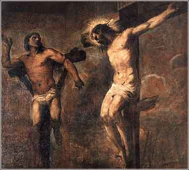 Devotional painting by Titan, Christ forgives the thief on the cross