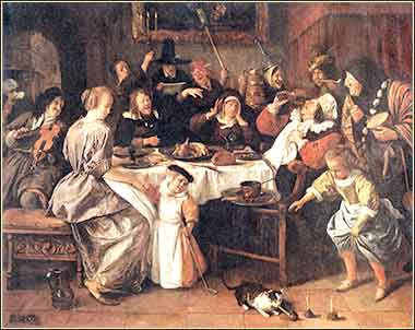 Painting of a Christmastide Twelfth Night Celebration by Jan Steen, ca. 1668