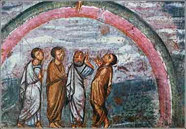 Noah and rainbow, Vienna Genesis, 6th Century Syrian painting