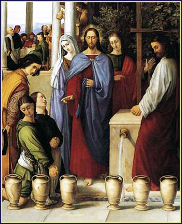 Jesus turns water into wine at the wedding at Cana (John 2)