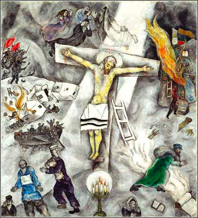 <i>White Crucifixion</i> by Marc Chagall, ca. 1938.
