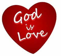 God is love, simple red heart
