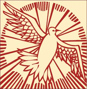 Holy Spirit as a red dove