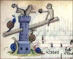 Monkeys battling snails from Illuminated Hymnal