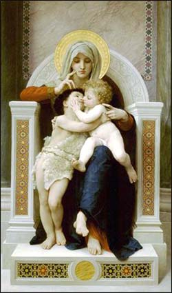Virgin Mary with infants Jesus and John the Baptist,Bouguereau ca. 1875
