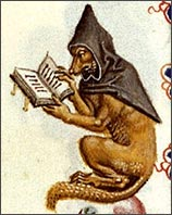 Wolf reading, from an illuminated Bible.