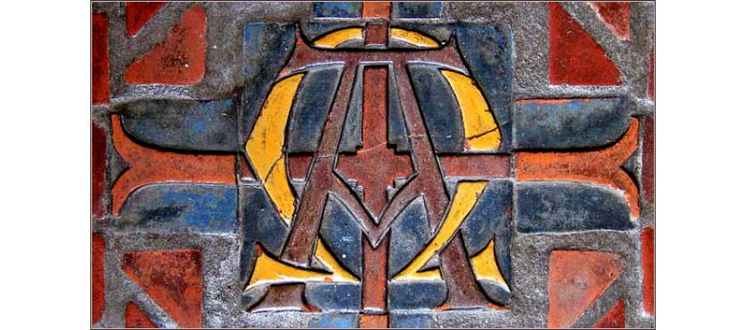 An Alpha-Omega design in glazed terracotta, from Moravian Tile Works, ca. 1864.