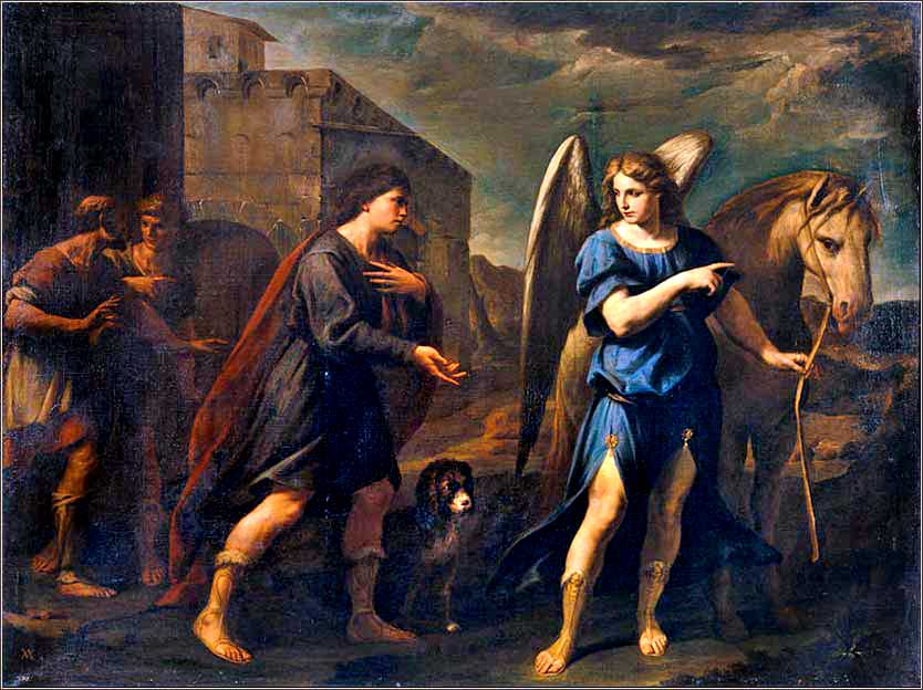 <i>Tobias Meets the Archangel Raphael</i> by Andrea Vaccaro, ca. 1640.