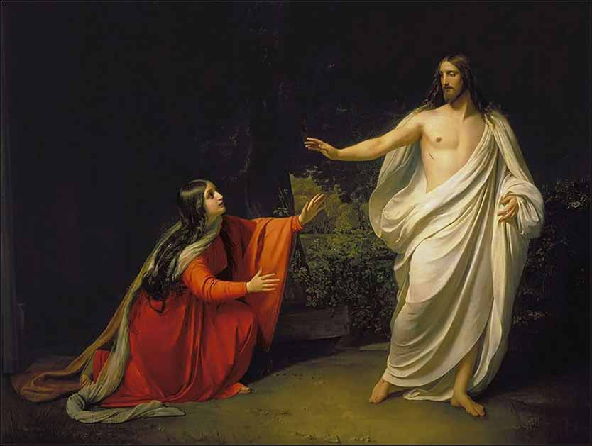 Christ Resurrected appears to Mary Magdalene, devotional painting by Alexander Ivanov
