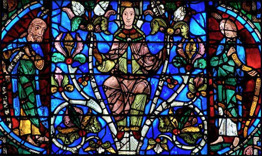 Chartres Cathedral, Tree of Jesse, Jesus (with the seven gifts of the spirit, as doves), Habukkak and Zephania