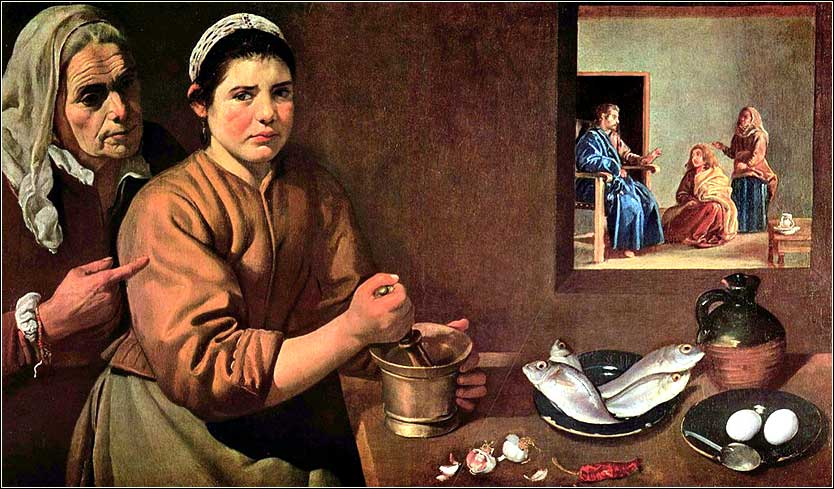 <i>Christ in the House of Mary and Martha</i> by Diego Velázquez, ca. 1635.