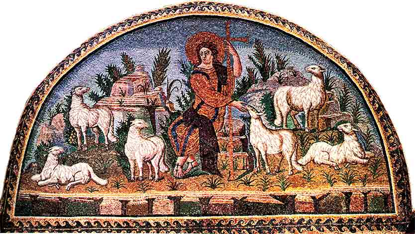 <i>Christ the Good Shepherd</i>, a 5th century mosaic in the Mausoleum of Galla Placidia, Ravenna, Italy.
