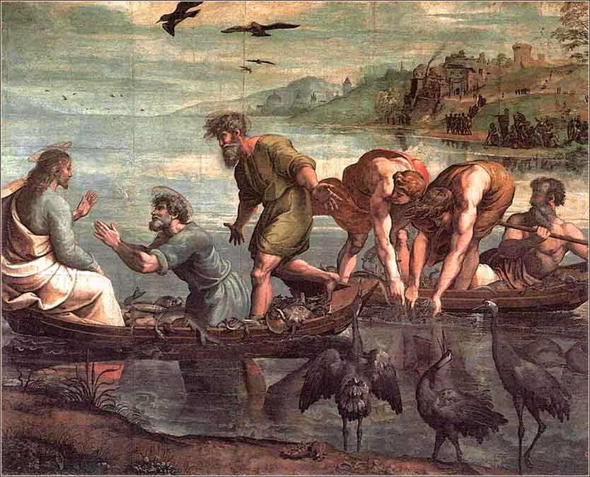 <i>The Miraculous Draught of Fishes</i> by Raphael, ca. 1515.