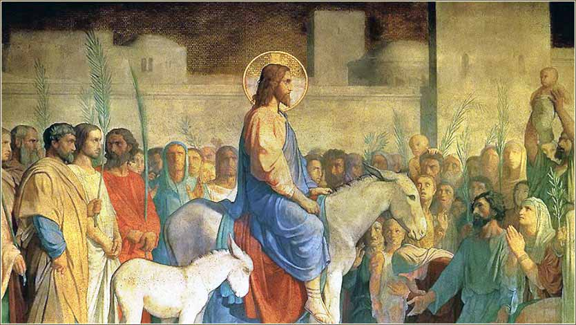 <i>Christ's Entry into Jerusalem,</i> fresco on the wall of the Church of St. Germain des Pres, by Jean Hippolyte Flandrin, ca. 1848.