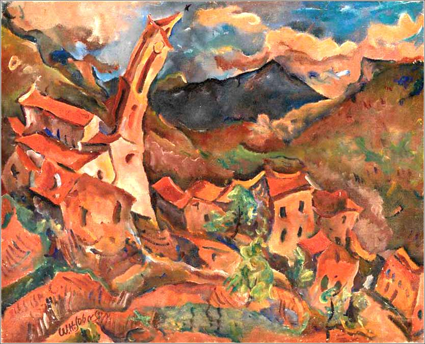 <i>Church in Evisa, Corsica</i> by William H. Johnson, ca. 1927.