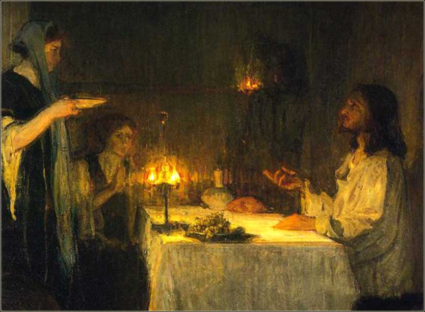 <i>Christ at the Home of Mary and Martha (detail)</i> <br>by Henry Ossawa Tanner, ca. 1989.
