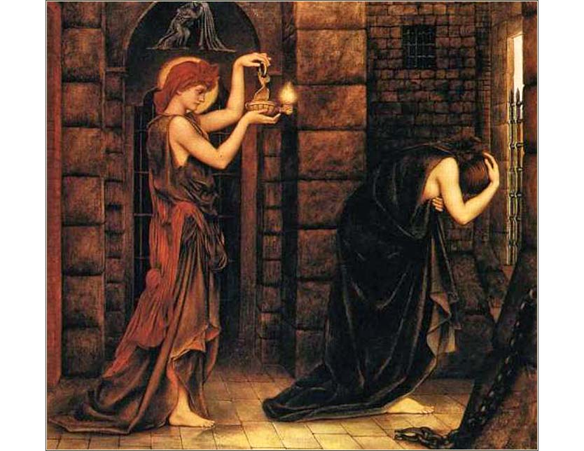 <i>Hope in a Prison of Despair</i> by Evelyn De Morgan, ca. 1887.