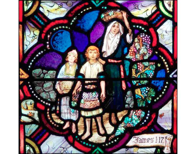 "Window from The Huguenot Church, Pelham, NY, illustrating James 1:17 — ""Every good gift and every perfect gift is from above, coming down from the Father of lights."""