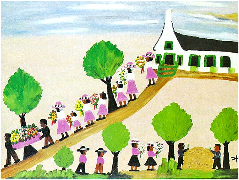 <i>A Funeral at Isle Brevelle</i> by Clementine Hunter (Louisiana), ca. 1966.