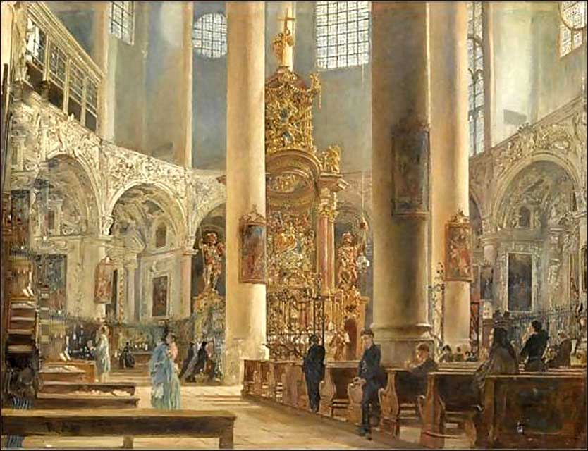 <i>Interior Of The Franciscan Church, Salzburg</i>,  by Rudolf Ritter von Alt, ca. 1840.