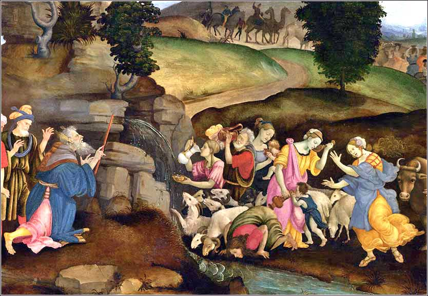 Moses Brings Water Out of the Rock, Filippino Lippi ca. 1490