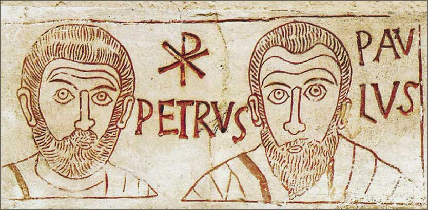 4th century stone etching of Peter and Paul, with a Chi Rho.