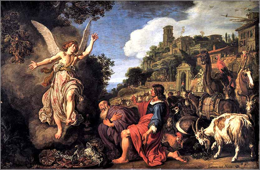 <i>The Angel Raphael Takes Leave of Old Tobit and his Son Tobias</i>  by Pieter Lastman ca. 1618.