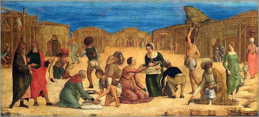 <i>The Israelites Gathering Manna</i> by Ercole de Roberti ca. 1490.