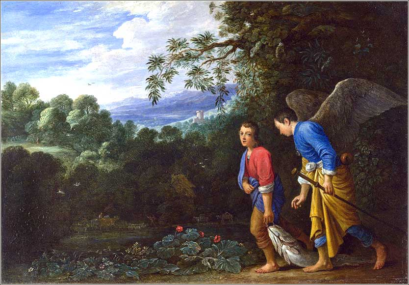 <i>Tobias and Raphael</i> after Adam Elsheimer, ca. 1650.