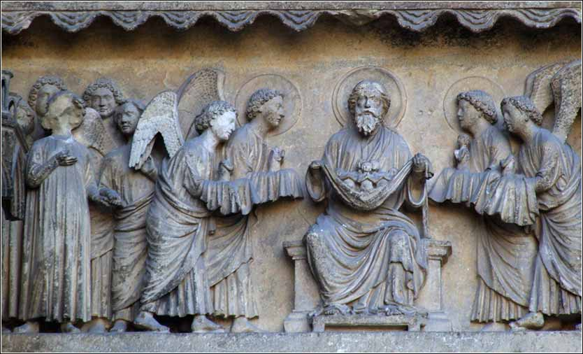 Reims Cathedral (Cathedrale Notre Dame) <i>Day of Judgment</i>, angels leading souls to Abraham.><br class=