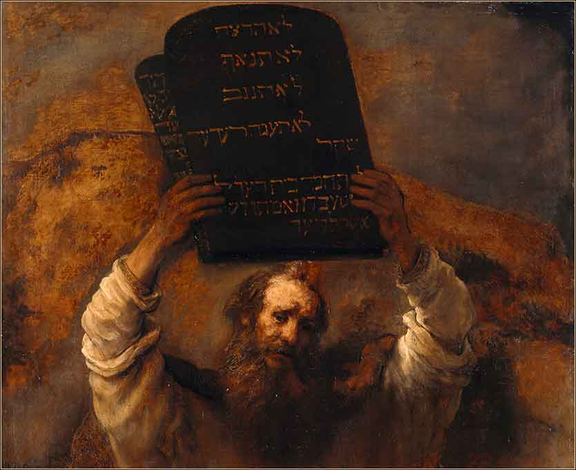 Moses with the Ten Commandments  Rembrandt c. 1659