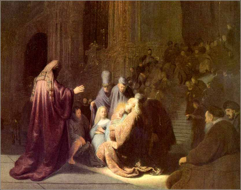 Rembrandt painting, Simeon at the Temple, Nunc Dimittis