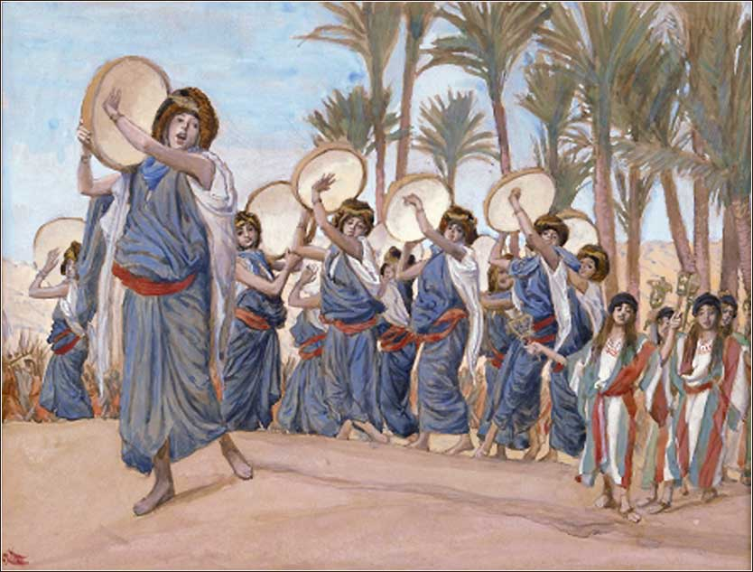 <i>Songs of Joy</i> by James Tissot, ca. 1900, shows Miriam, leading a group of Hebrew women and girls, dancing with tambourines to the \