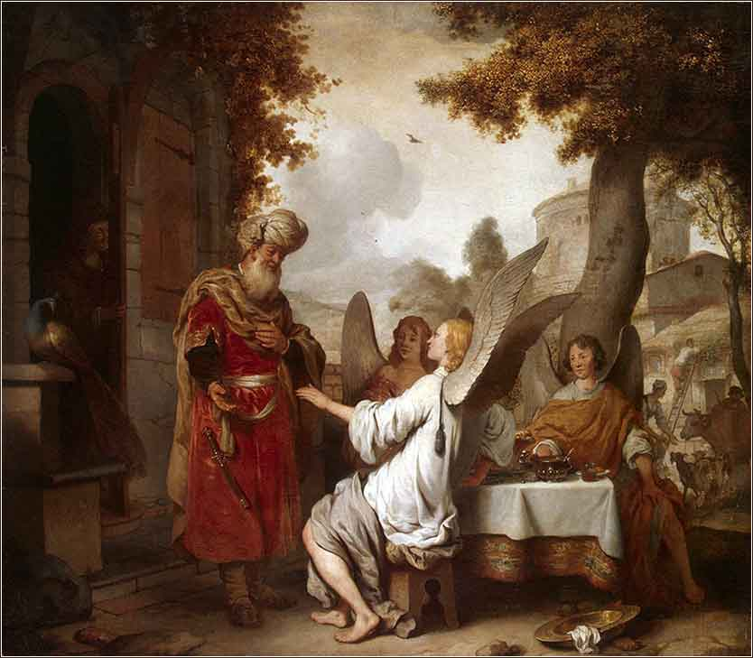 Abraham and the Three Angels, painting by Gerbrand van den Eeckhout (Dutch) c. 1656, Hermitage Museum, St. Petersburg
