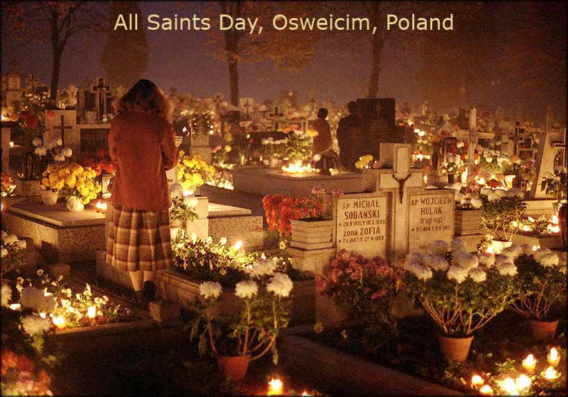 Celebration of All Saints in a Cemetery, Oswiecim, Poland.