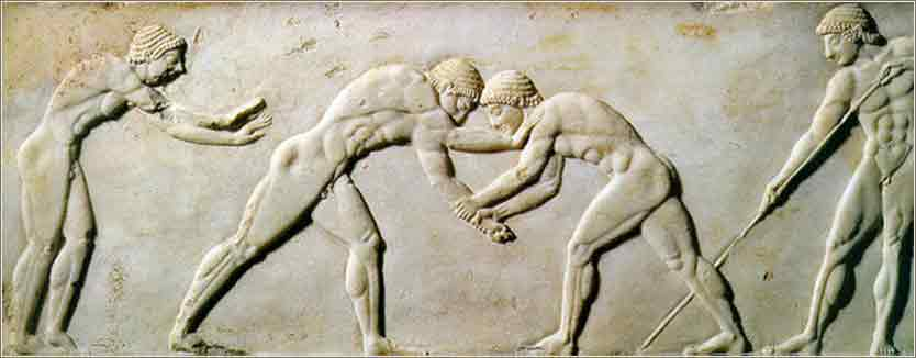 Frieze of wrestler, ancient Olympic games
