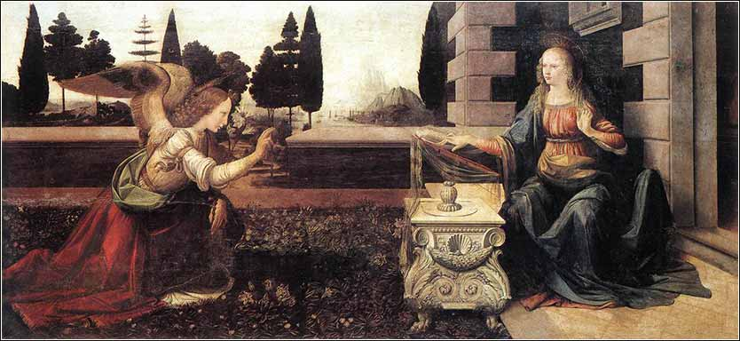 The Annunciation, Leonardo da Vinci, c. 1472