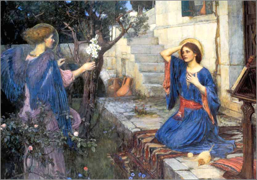 <i>The Annunciation</i> by pre-Raphaelite master John Wm. Waterhouse, c. 1914