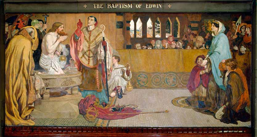 Devotion painting by Ford Madox Brown, The Baptism of Edwin