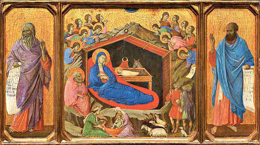Christmas, Nativity scene by Duccio di Buoninsegna c. 1310